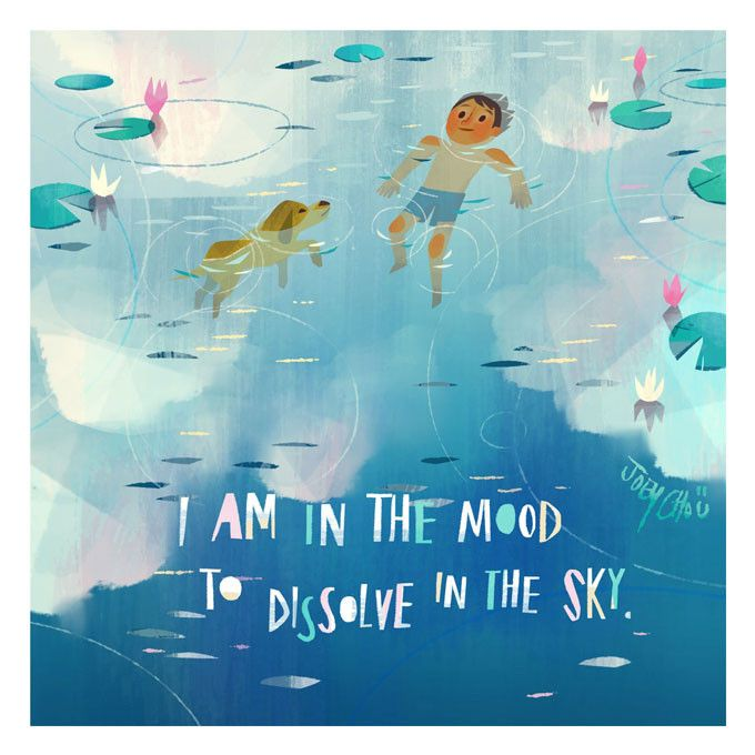 """Dissolved Sky Print by Joey Chou """"I am in the mood to dissolve in the sky."""" -Virginia Woolf - Giclée print on archival watercolor fine-art paper. - Open edition. - Signed by the artist. - Print measur"""