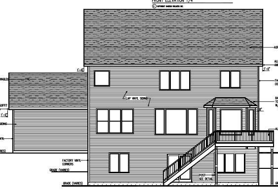 Cottage Craftsman Traditional Rear Elevation of Plan 99384