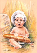 Portraits - Baby Cook with Baguette by Miki De Goodaboom
