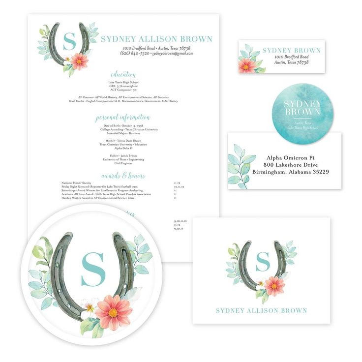 Sweet Horseshoe Sorority Packet // Our recruitment information packets include designs for your resume, cover letter, mailing labels, return address labels, personal stickers to label your sorority headshots, and thank you notes—everything you need to gather letters of recommendation for sorority recruitment! sororitypackets.com