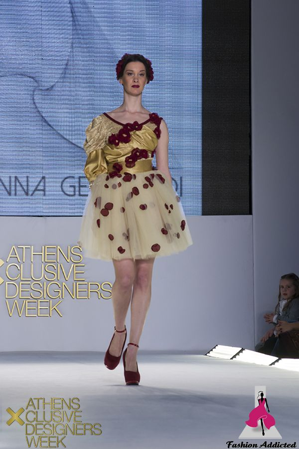 Stavrianna Georgiadi - Gold lace & silk bodysuit with Bordeaux flowers sewn on it and golden tulle skirt with bordeaux petals