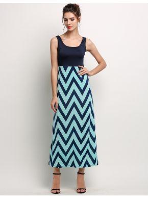 Koyu mavi Yeni Şık Bayanlar Bayan Yuvarlak Boyun Çizgili Plaj Uzun Casual Elbiseler