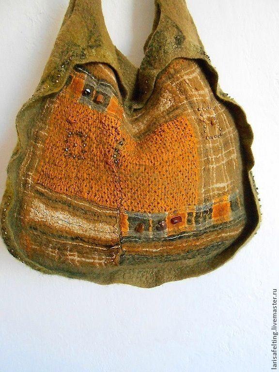 Купить Сумка валяная оливкового цвета - оливковый, орнамент, сумка хобо, бохо, бохо стиль