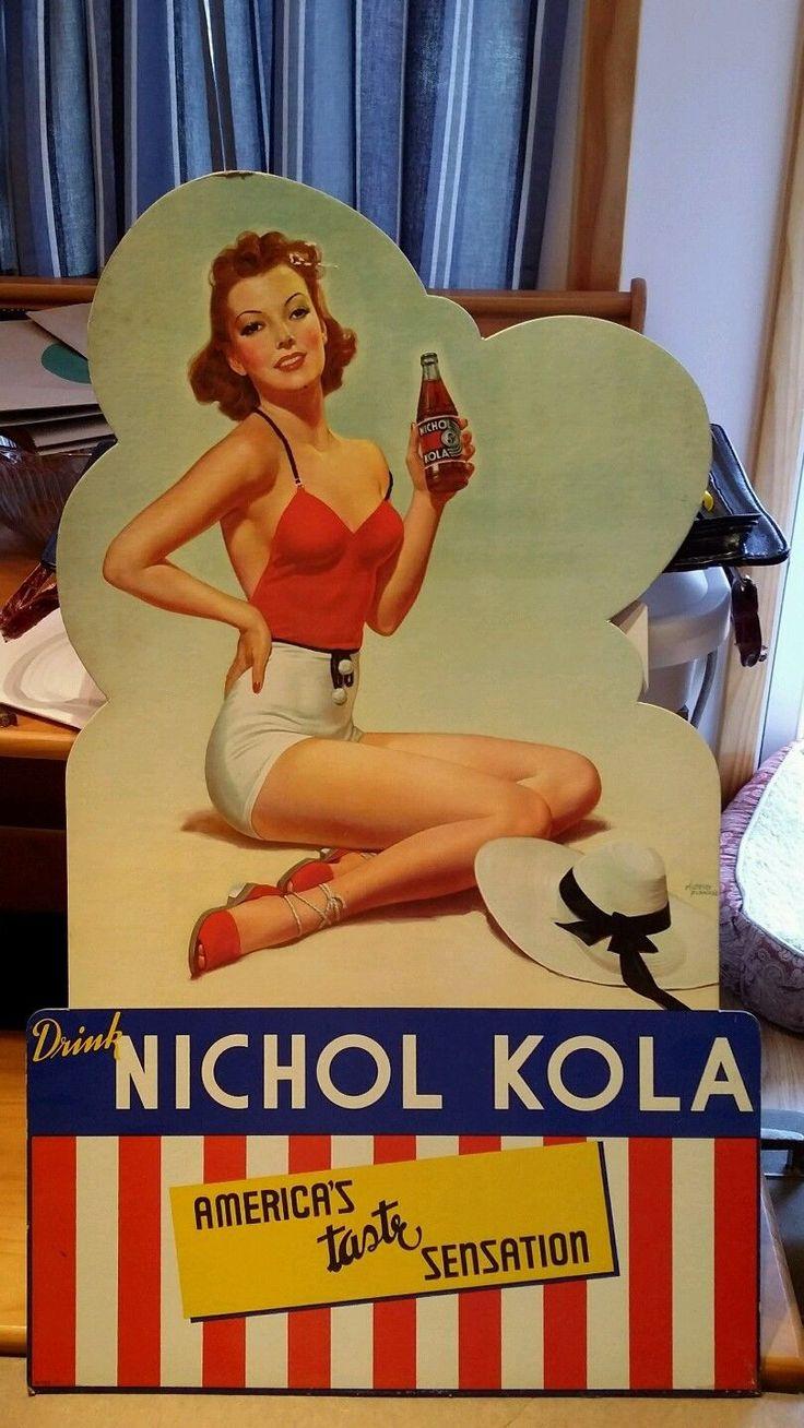 Vintage Nichol Cola Advertising Sign Pin Up Girl Albert Fisher | eBay