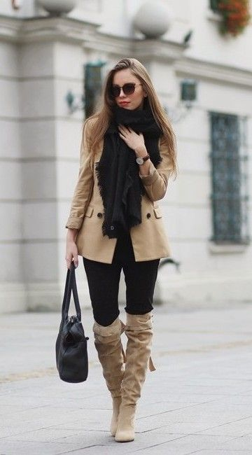 Beige blazer coat fall outfit