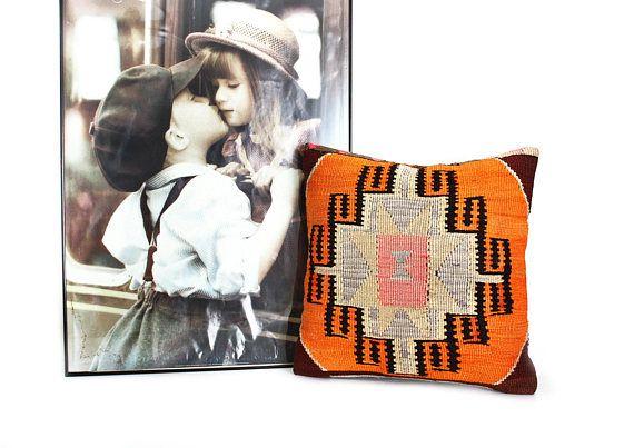20x20 orange kilim pillow,southwestern pillow,kilim pillow cover,kilim fabric,kilim cushion,kelim kissen,kilim,navajo pillow,ethnic decor