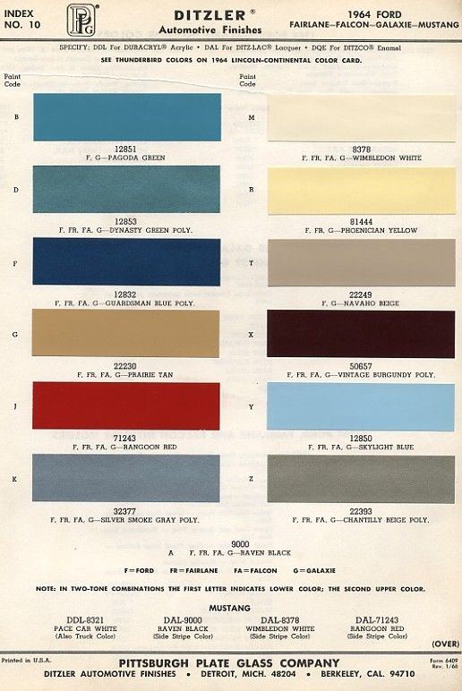 Original Colors Of Mustang 1964 Mustangs Pinterest Ford And Cars
