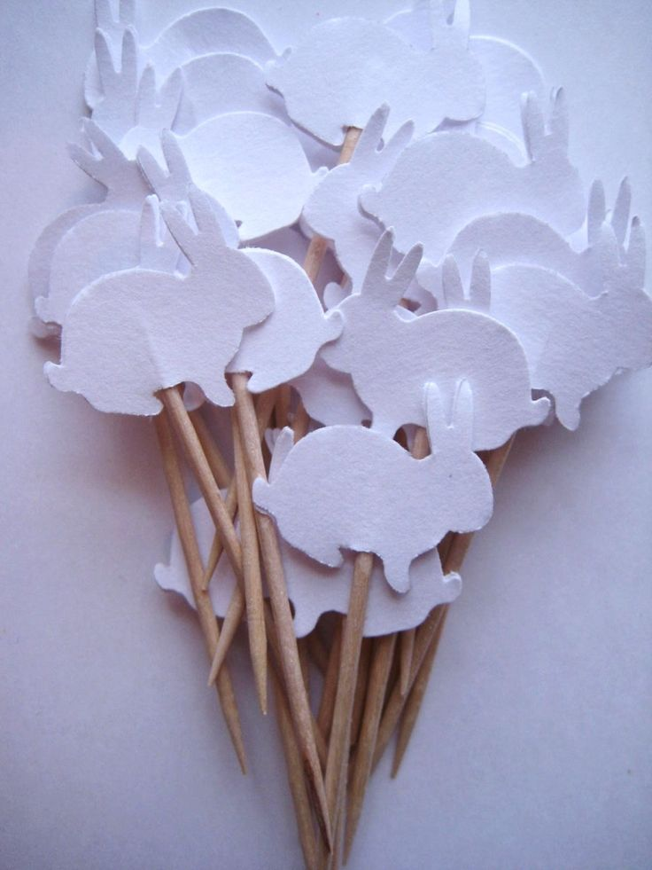 Bunny Party Picks - die cut shapes for cupcake picks