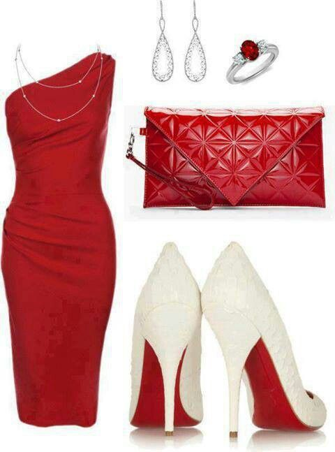 Red evening dress and Loubs