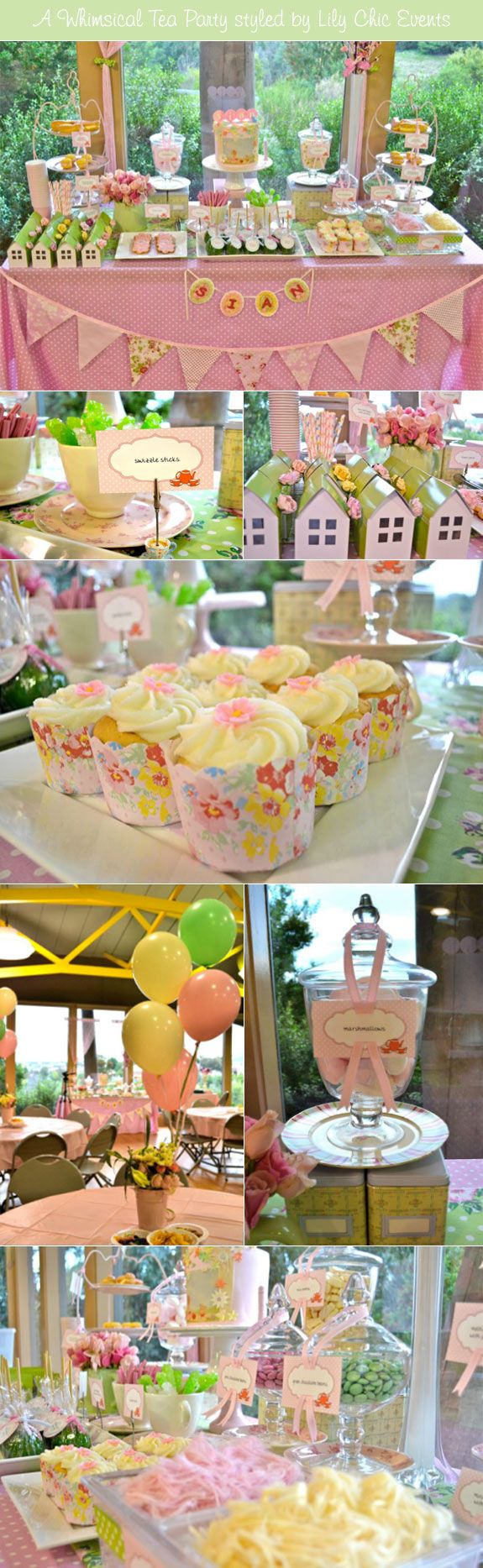 Pink and green bridal shower tea party...this gives me spring fever to throw a party!!! I love to cater!!!