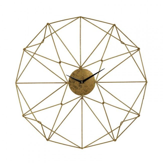Sterling Angular Wirework Wall Clock In Gold 51-029