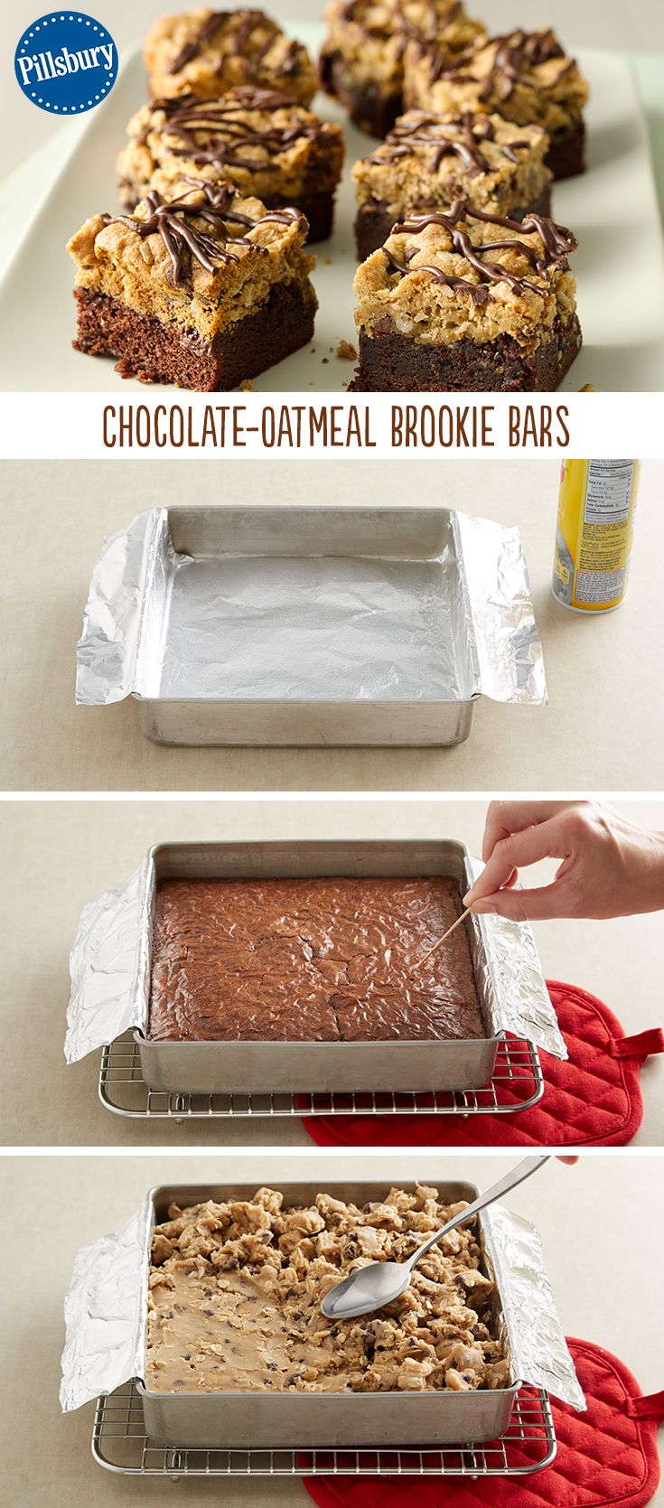 A combination of your two favorite treats: chocolate chip cookies and brownies. These simple cookie-brownie bars have the height to impress! Easy to make and made extra-special with the addition of oats. Serve these at half-time during game day or for any get-together with friends.