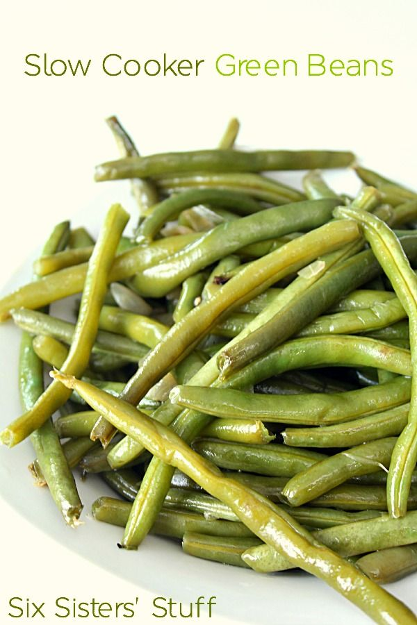 Slow Cooker Green Beans on SixSistersStuff.com