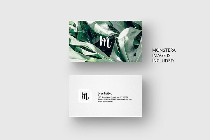 Business Card Template With Monstera 26669 Business Cards Design Bundles Graphic Design Business Card Business Cards Creative Templates Business Card Design