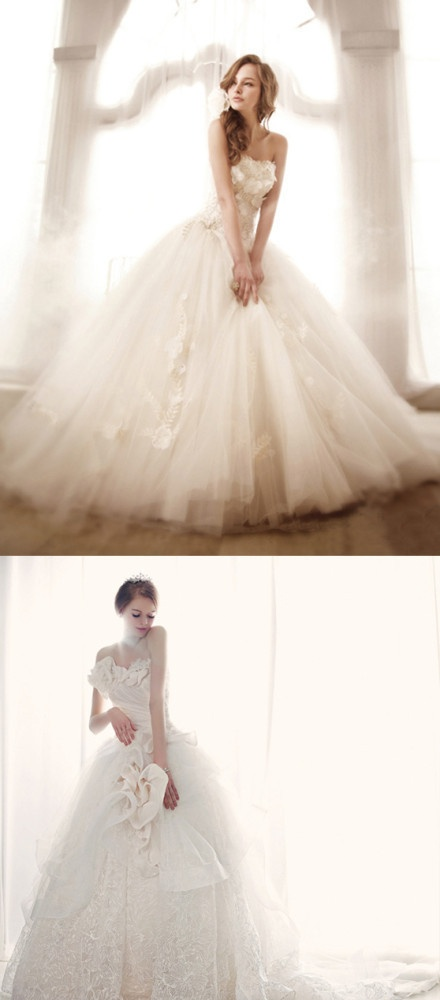 A beautiful elegant wedding dress for the bride and her groom.