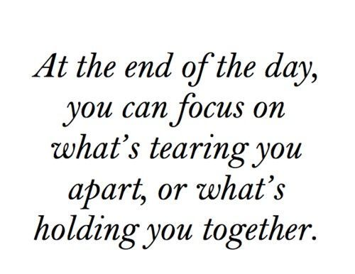 At the end of the day, you can focus on what's tearing