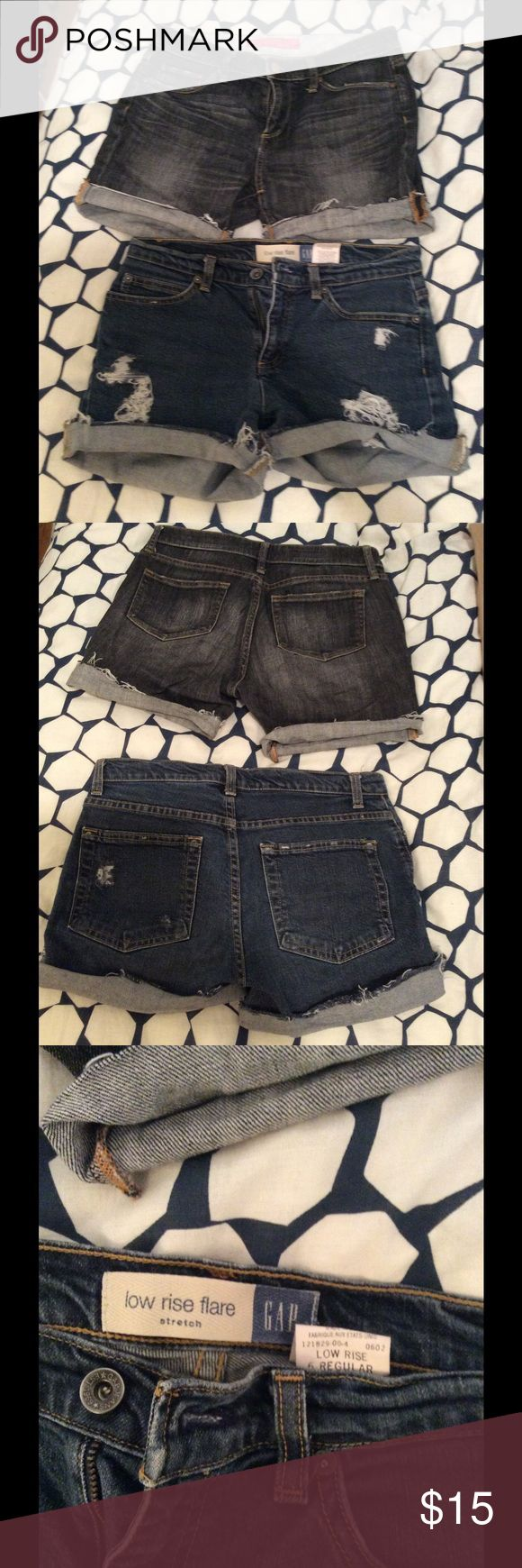 Denim cut off shorts bundle Gap and Uniqlondenim cutoff distressed shorts bundle.  One faded black pair and one blue pair. Get both for one price! Uniqlo Shorts Jean Shorts