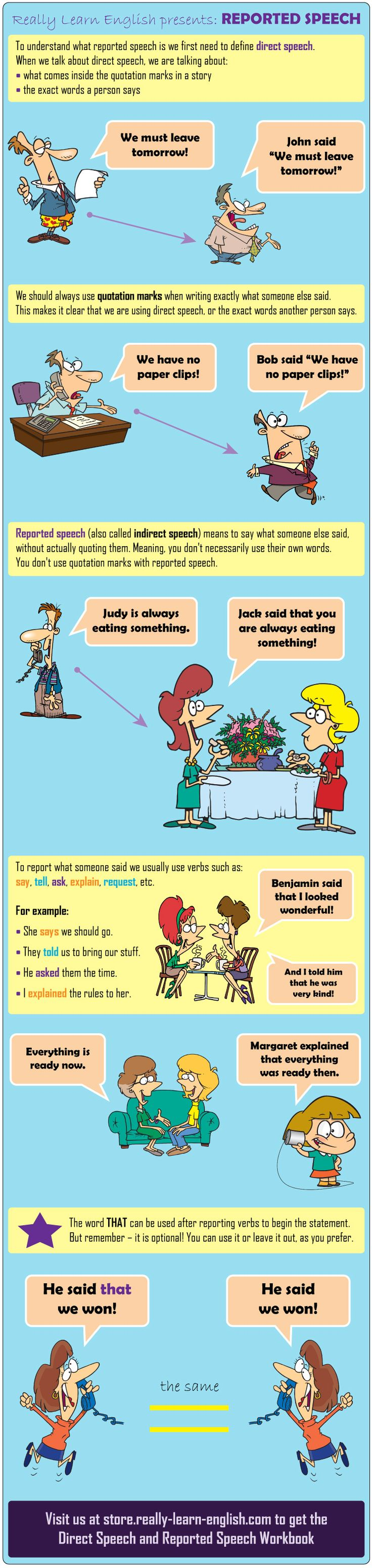 Direct Speech and Reported Speech (Indirect Speech): overview and definitions, reporting verbs, using the word THAT + Workbook