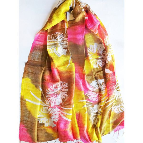 Colorful Silk Shawl Hand Dyed Handwoven Batik Handmade Wedding Gift Wedding Accessory Light Weight Silk Shawl Natural Pure Raw Silk For Her (€25) found on Polyvore featuring women's fashion, accessories, scarves, multi colored scarves, light weight scarves, colorful scarves, colorful shawls and shawl scarves