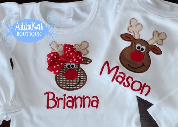 Personalized Coordinating Sibling Christmas Shirts - Reindeer by AddieKatShop on Etsy https://www.etsy.com/listing/158925015/personalized-coordinating-sibling