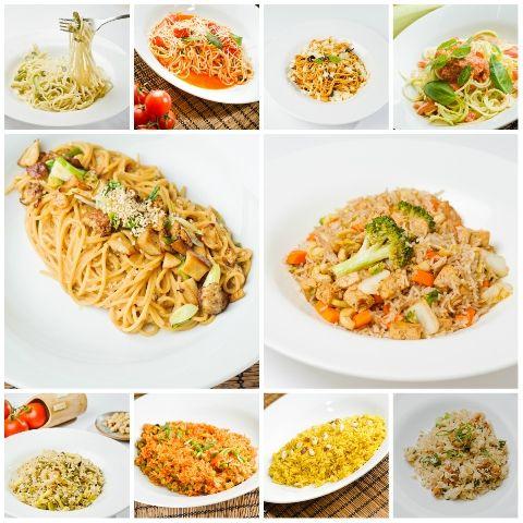 Semnalăm atenţiei voastre sortimentele noastre de paste: paste Primavera (vegetariene/vegane), paste cu roşii cherry şi busuioc (vegetariene/vegane), paste cu vinete (vegetariene/vegane), paste din dovlecel cu sos de roşii (raw-vegane), paste cu susan şi hribi (vegane), precum şi de orez: orez cu legume şi tofu (vegan), orez cu fasole verde, arahide şi susan (vegan), orez mexican (vegan), orez marocan (vegetarian/vegan) şi orez cu ciuperci de sezon şi ghimbir.