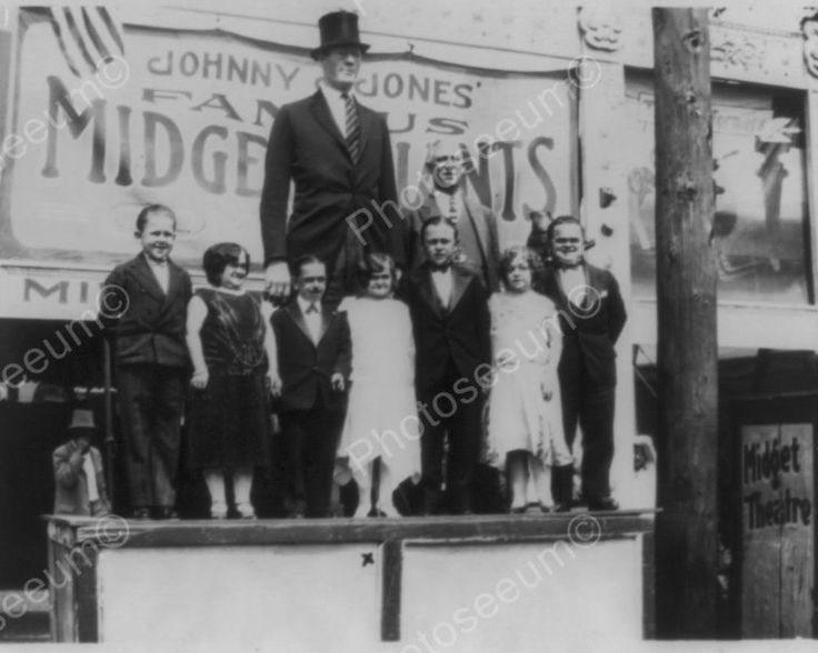 Midgets & Giant Side Show On Stage 1920s 8x10 Reprint Of Old Photo