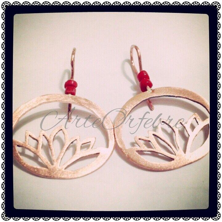 Aros Cobre Calado & Coral Rojo