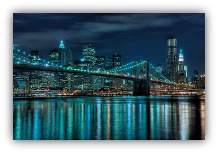 NYC-Brookling Bridge and Downtown at Night