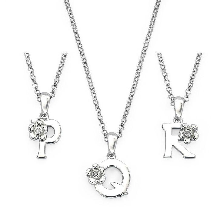 Little Diva Diamonds 925 Sterling Silver Diamond Accent Initial Pendant Necklace