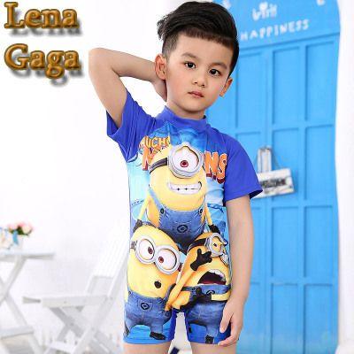 Lena Gaga Children's Despicable Me Boys Children Bathing Suit Minion Boyleg Swimsuit Kids Swimwear & Swimming Cap For Infants