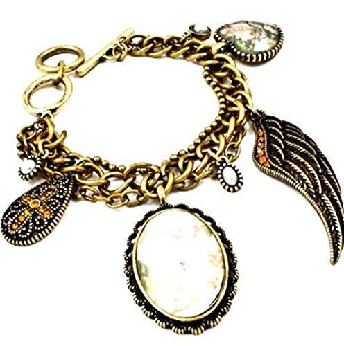Angel Wing Charm Bracelet C35 Crystal Cross Flower Burnis... www.amazon.com/...