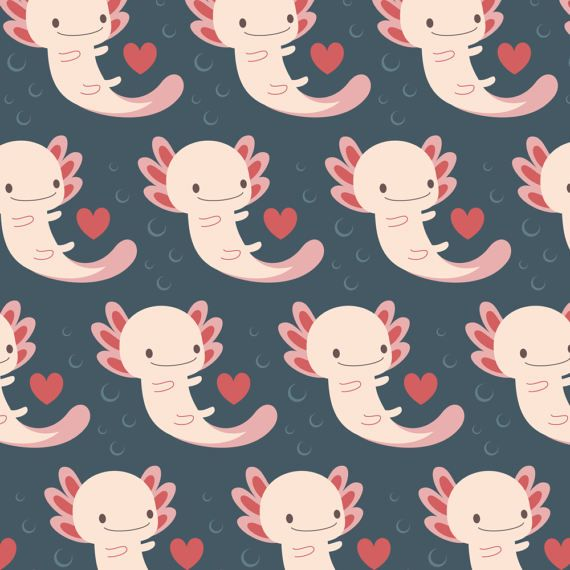 Axolotl Fabric  Axolotls Hearts And Bubbles By Petitspixels