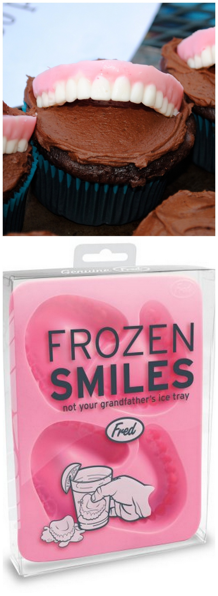 """Dentist's denture cupcake--Using Fred's """"Frozen Smiles"""" ice mold, fill the teeth with white chocolate (a paint brush helps with the details).  Let set, and then fill with pink chocolate. Perfect chocolate """"denture"""" cupcake topper for any dentist!"""