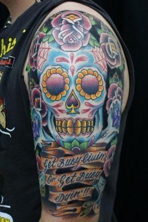 "Tatouage: Spécial Calavera aussi appellé ""Sugar Skull"" ou crane méxicain"