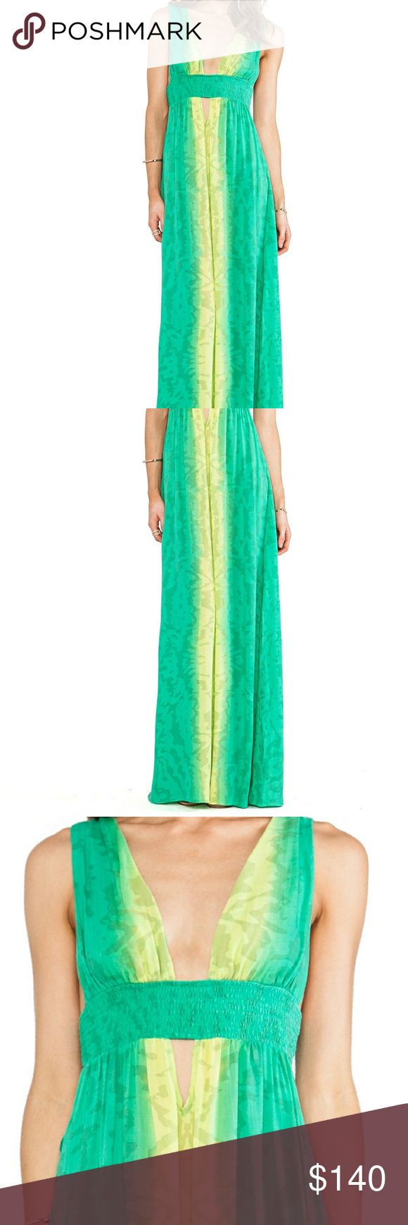 NWT Indah Green Anjeli Plunge Festival Maxi Dress A beautiful shade of green Plunging neckline with side cutout High slits on skirt  Soft lightweight cotton Elastic band at empire  waist  A great look for summer In good condition, never been worn and tag still attached Made by Indah, size XS Indah Dresses Maxi