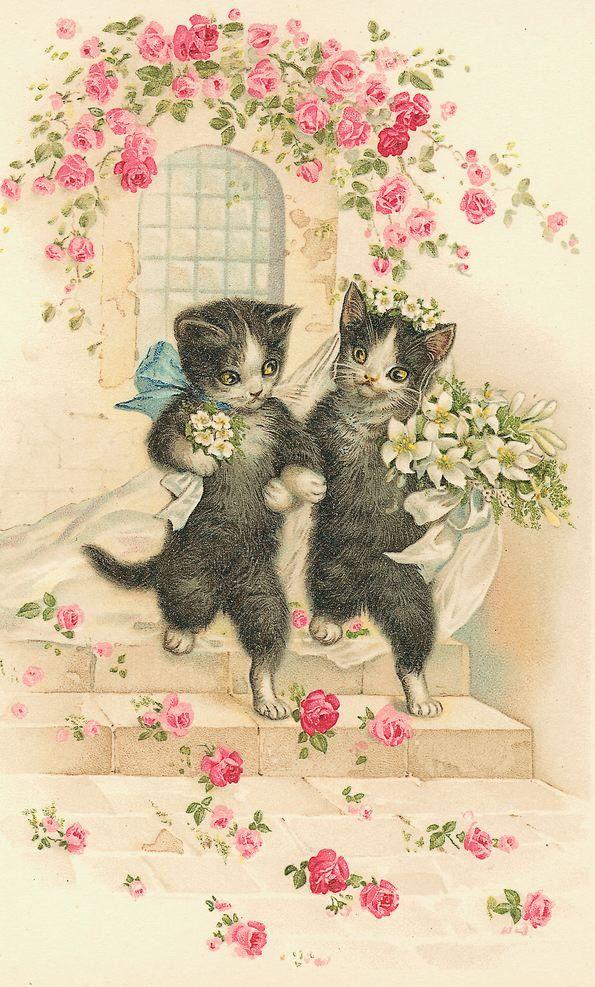 Vintage Кошки Свадьба 2 Cross Stitch Pattern PDF по lisalskinner