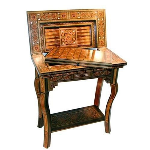 H1Mosaic Inlay Game Table WU SB100_h1This Handsome Mosaic Inlay Game Table  WU SB100 Has A Stunning Wood Mosaic Inlay Finish And A Folding Top For  Backgammon ...