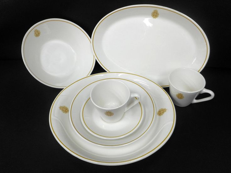 Vintage Royal Canadian Navy 7 Dish Set Plates and Cups, Syracuse China Dinnerware, Canadian Navy Military Emblem, Officer's Mess, Signed