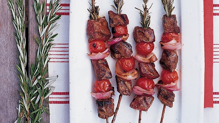 With its sturdy stalk, rosemary makes a great skewer, infusing grilled food with its garden-fresh flavor. Soak stalks for a half hour before adding meat, fish, or vegetables. You may need to poke through the food first with a metal skewer.