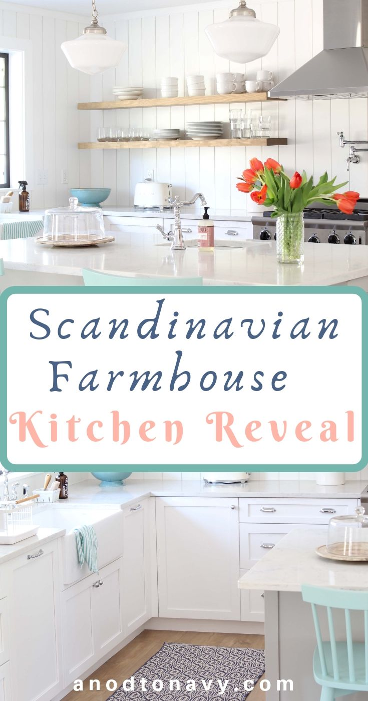 Scandinavian Farmhouse Kitchen Reveal A Nod To Navy Shiplap Kitchen Farmhouse Kitchen Kitchen Decor