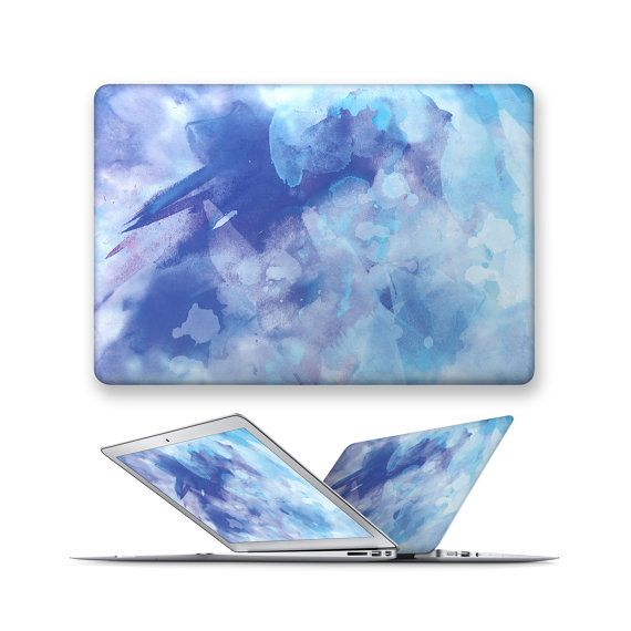 macbook hard case rubberized front hard cover for apple mac macbook air pro 11 12 13 15 watercolor painting sky blue splash