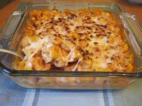 Tortellini Bake... Bag of frozen cheese tortellini, Alfredo sauce, marinara sauce, mozzarella cheese, parmesan cheese, bake at 350.