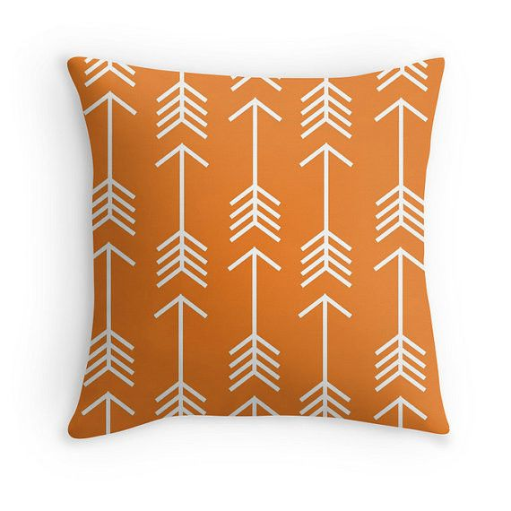 This is orange pillow cover features a modern pattern of arrows. This would be perfect for a rustic nursery, kids room, bedrooms, living rooms, dorms, etc. Product Details -Made from a soft textured t