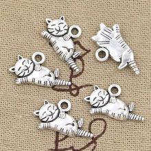 99 Centavos 12 unids Encantos gato perezoso 20*12mm Antiguo Que Hace el colgante fit, joyería de La Vendimia de Plata Tibetana, DIY collar de la pulsera(China (Mainland))