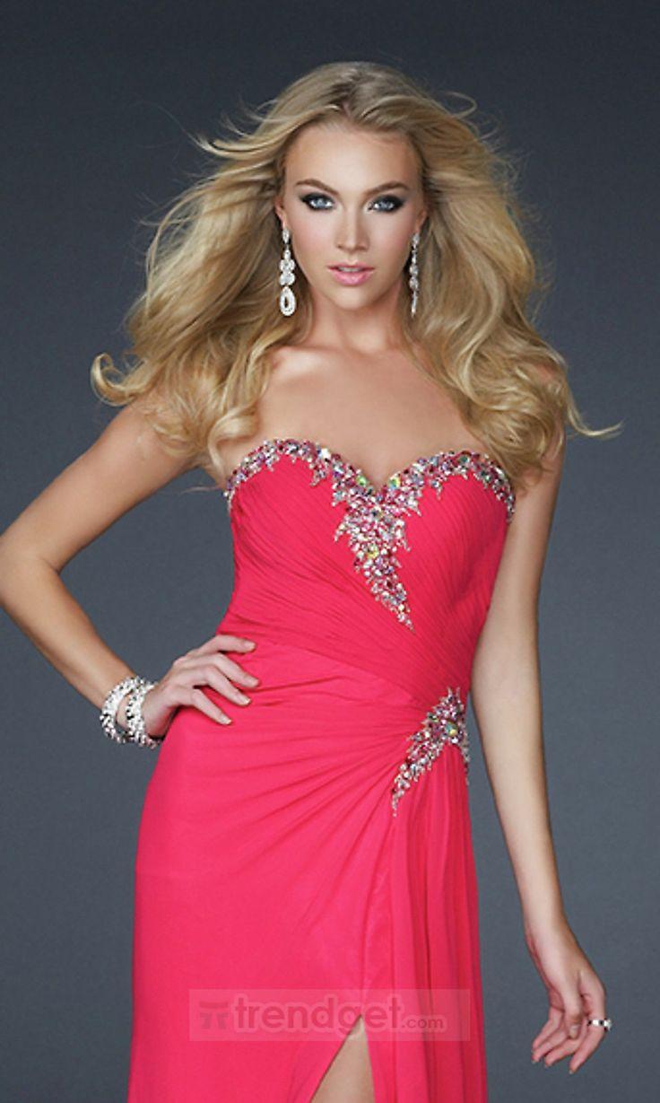 Stunning Sheath / Column Sweetheart Floor-length Chiffon Split Front Red Evening Dresses - $126.99 - Trendget.com
