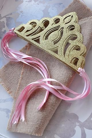Pink and Gold Birthday Party Decoration.  Ships in 1-3 Business Days.  Princess Crowns as Party Favors.