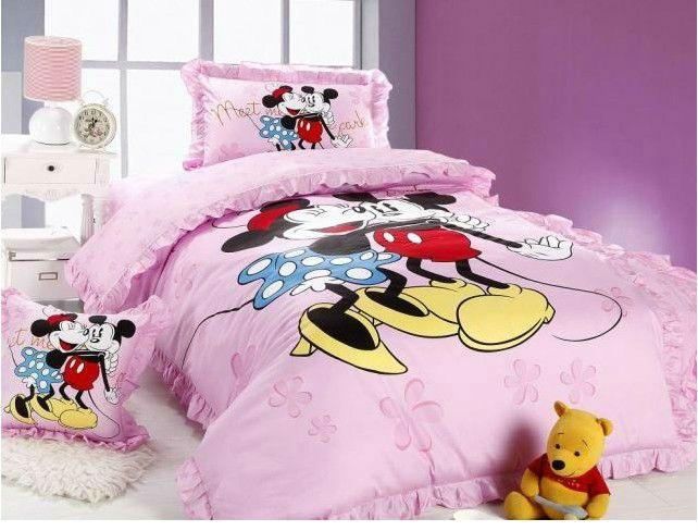 Novo! 100% algodão rato mickey minnie mouse cama queen conjunto roupa de cama para crianças garoto lençol 1162