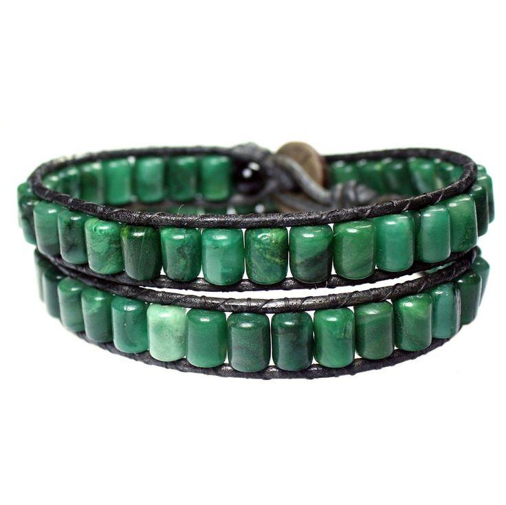 Men's wrap bracelet classic B6 African Jade