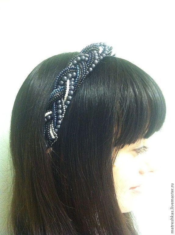 Купить Ободок объемный Серо-синий - темно-серый, ободок для волос, ободок, ободок с цветами