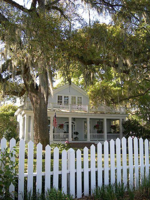 Georgia coastal cottage with picket fence and live oak tree.